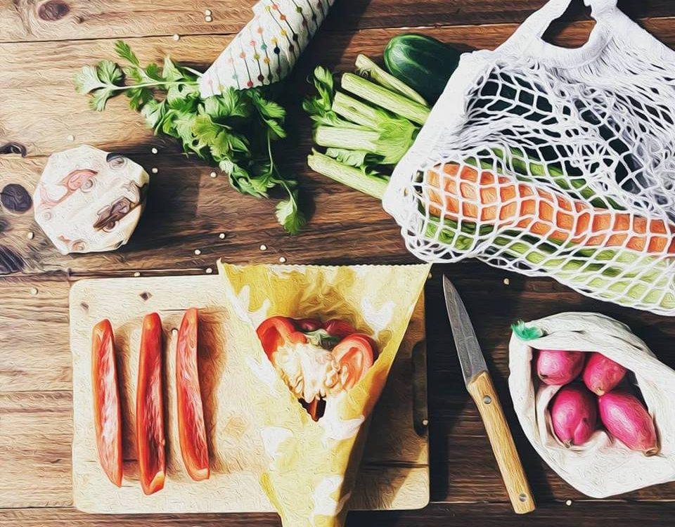 Alimentos vegetales con envoltorios ecológicos